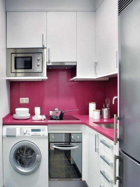 Cozinha em L rosa