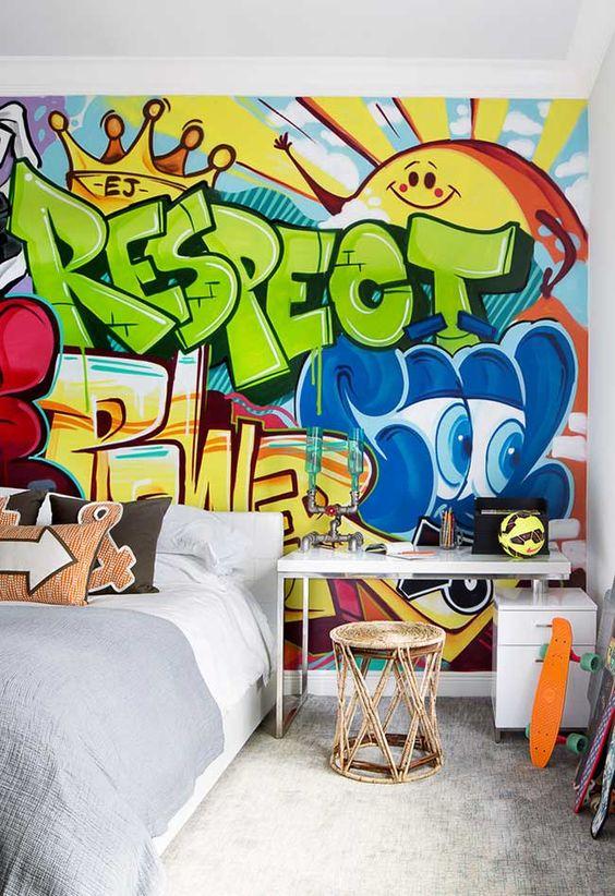 ambientes decorados com grafite na parede