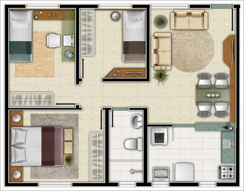 plantas-de-casas-com-3-quartos