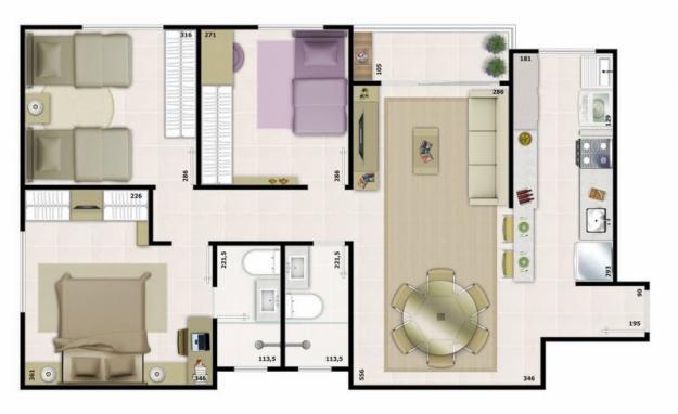 plantas-para-casas-com-tres-quartos