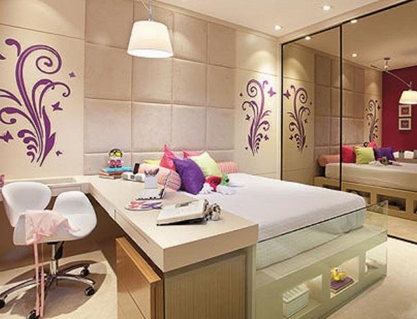 Decoração para quarto feminino moderno