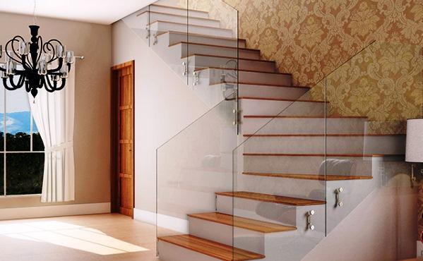 Escadas com Corrimão de Vidro fotos