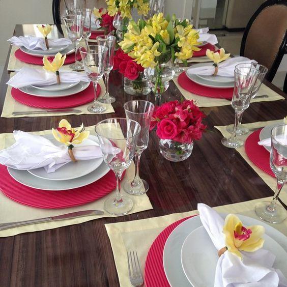 Decoração de mesas de jantar simples