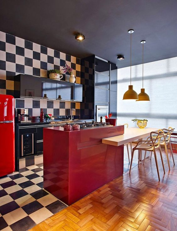 cozinha vermelha moderna