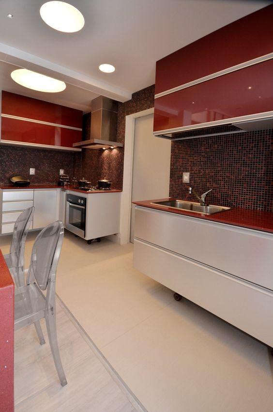 cozinhas vermelhas modernas