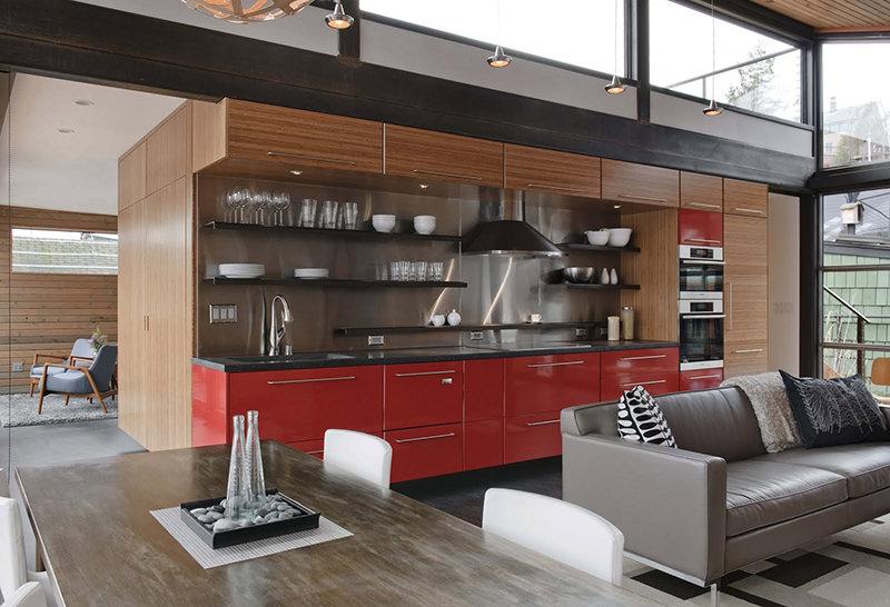cozinhas vermelhas para lofts grandes