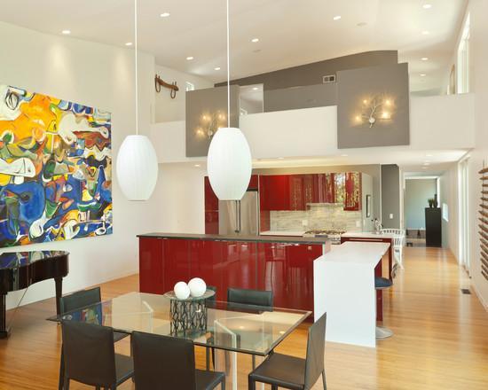 cozinhas vermelhas para lofts