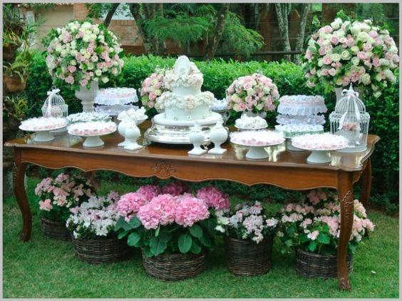 Mesas de Bolo de Casamento como decorar