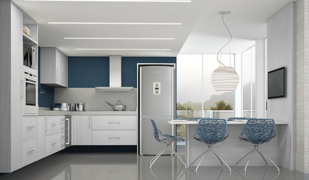 Cozinhas em L azul claro