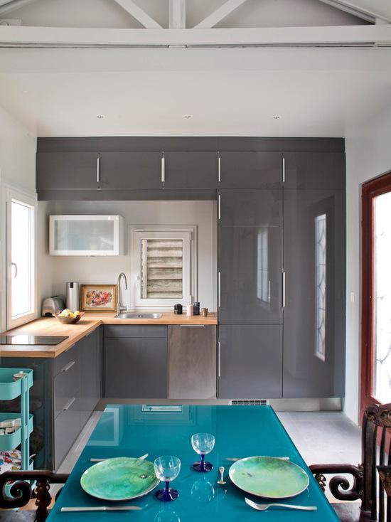 Cozinhas em L azul