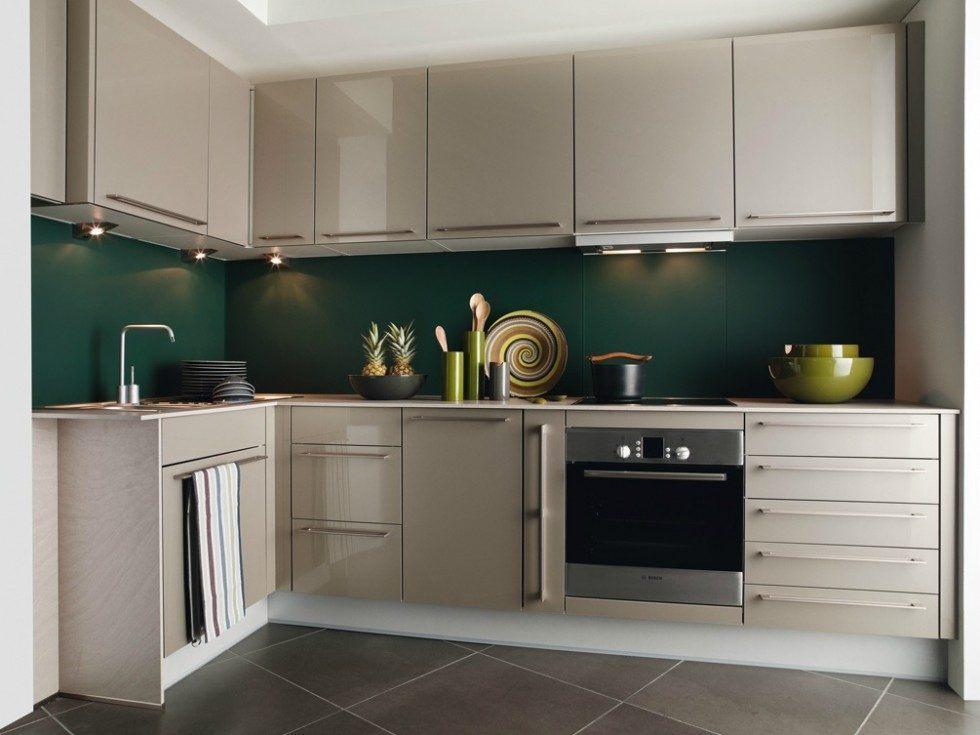 Cozinha em L verde