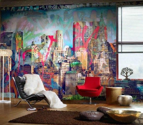 ambientes decorados com grafite na parede fotos