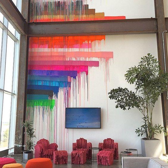 ambientes decorados com grafite na parede modernos